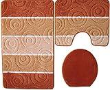 Orion Badgarnitur 3 tlg. Set 50x80 cm Terracotta WC Vorleger mit Ausschnitt geprüft nach OEKO-TEX Standard 100
