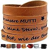 Echt Lederarmband mit Gravur mit GESCHENKBOX OPTION , 65 cm, Wickelarmband, 7 FARBEN Wunschtext, einseitige Gravur