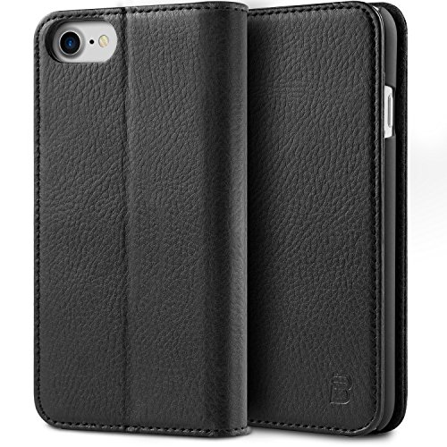 iPhone 7 Hülle, BEZ® iPhone 7 Tasche, Schutzhülle Handyhülle aus Leder Flip Case Taschenhülle mit Kreditkartenhaltern, Standfunktion, Geldbeutel, Magnetverschluss - Schwarz (Tasche Leder 7)