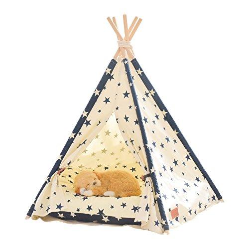 little dove,Hunde-Tipi-Zelt, Hause und Zelt mit Spitze für Hund oder Haustier, abnehmbar und waschbar mit Matraze,Stern (L) -