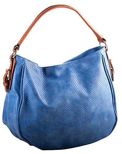 Liberta' Damen Tasche Beuteltasche Perforiert 29x23x11 cm (BxHxT), Farbe:Deep Water Blue -