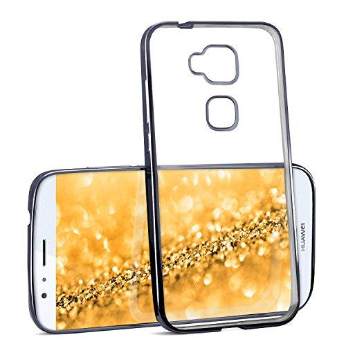 Chrome Case für Huawei G8 / GX8 | Transparente Silikon Hülle mit Metallic Effekt | Dünne Handy Schutz Tasche von OneFlow | Back Cover in Anthrazit