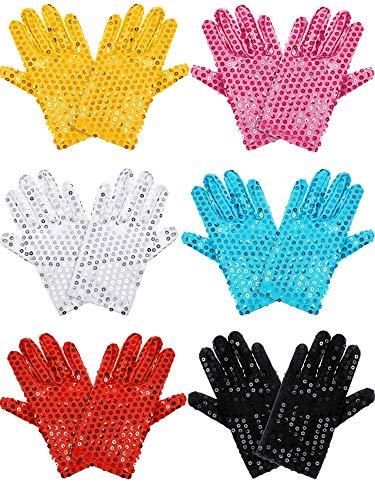 Syhood 6 Paar Kinder Pailletten-Handschuhe Glitzer Tanz Kostüm Handschuhe Kleid Up Pailletten Handschuhe Kostüm Zubehör für Kinder Tanzparty NA 6 (Tanzen Tragen Tanz Kostüm)