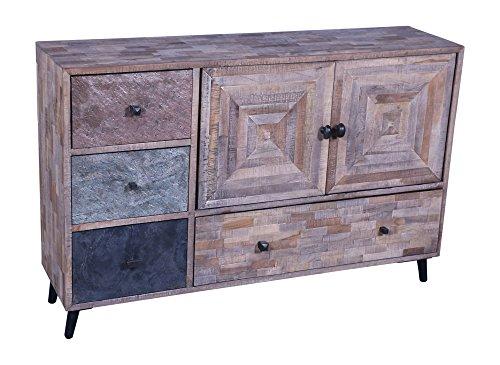 The Wood Times Sideboard Vintage Wohnzimmerschrank Teak Massiv Kean, BxHxT 117x78x31 cm
