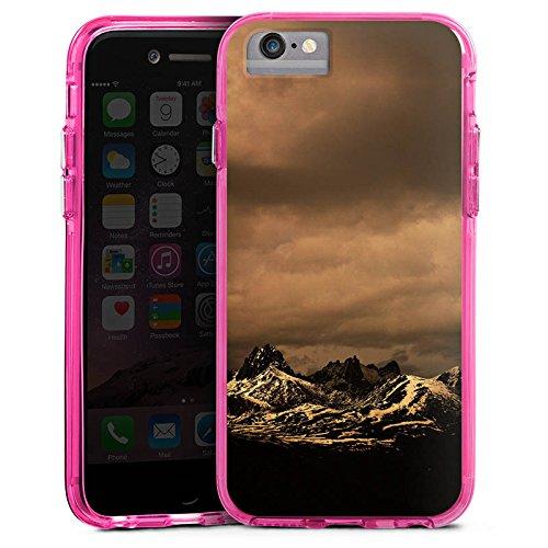 Apple iPhone 6s Bumper Hülle Bumper Case Glitzer Hülle Berglandschaft Gebirge Wolken Bumper Case transparent pink