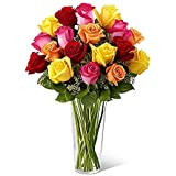 GoldenCart Fresh Flower Delivery Of ROSES I GLASS FLOWER VASE WITH FLOWERS I Flower Vase Decoration I Flower Vase For Home Decor And To Convey That 'special Feeling' Of 'Pure Love And Commitment' To Your Loved Ones (21 Fresh Roses With Vase, Mix)