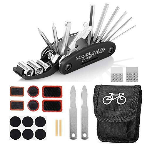 Juego de reparación de bicicletas, herramienta de bicicletas multifunción 16 en 1, herramienta para bicicletas, herramienta multiusos para bicicletas con bolsa, parche de bicicleta autoadhesivo