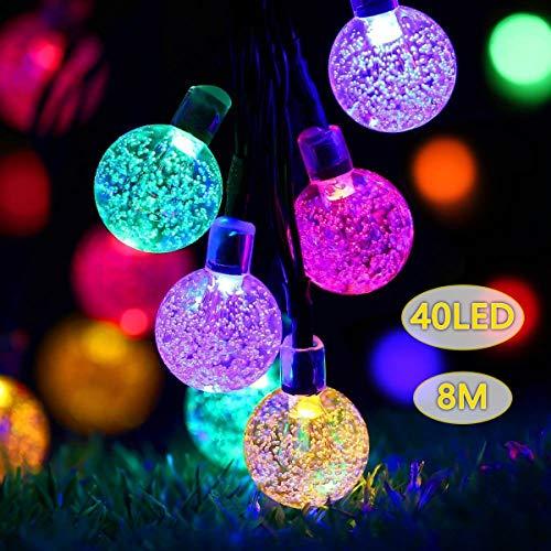 Solar Lichterkette aussen, B-right 40er Led Kristall Kugel Lichterkette, Lichterkette mit Lichtsensor, Solarbetriebene Lichterkette für Außen, Garten, Terrasse, Balkon, Party (Bunt)