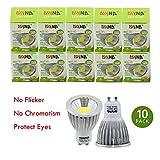 DIYNP Pack of 10 Aluminum GU10 5W LED Spotlight 5W COB LEDs LED Bulb In Warm White Energy-Saving Lamp