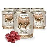 AniForte Hundefutter Rind Pur 6 x 800g für Hunde, Nassfutter ohne künstliche Vitamine oder Chemie, Barf Futter