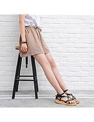 WHTLL-Short En Coton Féminin Jambe Large Jambes Fines Et Hautes Tailles Cintrées Loisirs Décontractés