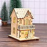 Gaddrt Holzhaus Weihnachtsdekoration Hölzernes Puppenhaus-Landhaus-Weihnachtsverzierungs-Weihnachtsbaum-hängender Dekor 9x8x14 cm (C)