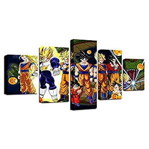BESTYAN Bilder Dragon Ball 25x50cm 5 Panel Son Goku und Seine Familie Leinwandbilder Bild auf Leinwand Vlies Wandbild…