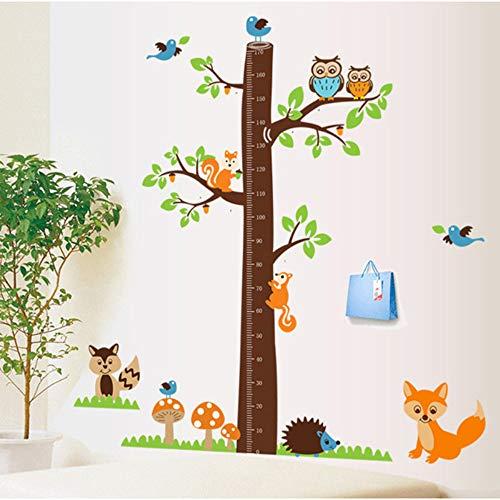 Cartoon Tiere Eichhörnchen Höhe Skala Baum Höhe Maßnahme Wandaufkleber Wachstum Chart Kinderzimmer Dekor Wandkunst (Moderne Wachstum Chart)