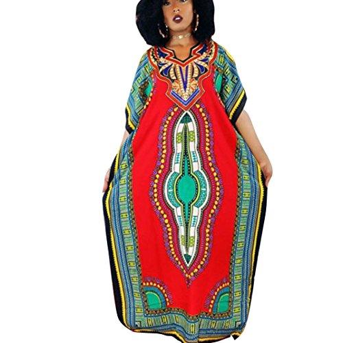 Sannysis Damen Mode afrikanisch Kaftan Kleid (XL, Rot)