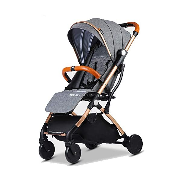 Baby Stroller Plane Lightweight Portable Travelling Pram Children Pushchair (Dark Grey G)  Stroller For Plane and Travel Aluminium frame,light weight around 6.9-7.5 kg One hand easy folding way (practice required) 1