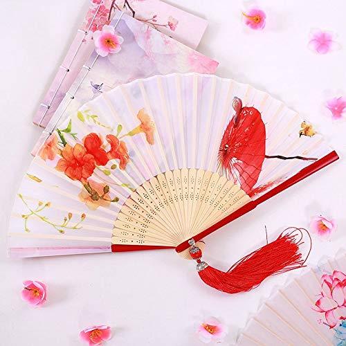 Kostüm Tanz Regenschirm - Handfächer,Sommer Im Chinesischen Stil Frauen Bambus Ventilator Weiße Hohle Pflanze Blume Regenschirm Vintage Folding Lüfter Geeignet Für Hochzeit Lady Gift Tanz Ventilator U-Bahn Folding Fan