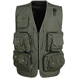 Panegy Hombres Chaleco Exterior de Algodón con Multibolsillos Posterior Removible Vest para Pesca Fotografía Verde militar - Talla 3XL