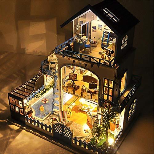 DIY SDIY DollHouse, Love Sea-Villa-Stil, mit LED-Lichtern und Musik, ohne Staubschutz, Passend für Geburtstag/Festival-Geschenk, von JINCLONDER