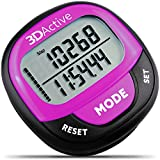 3DActive 3D Pedometer PDA-100| Best Pedometer for Walking with 30-Days Memory. Accurate Step