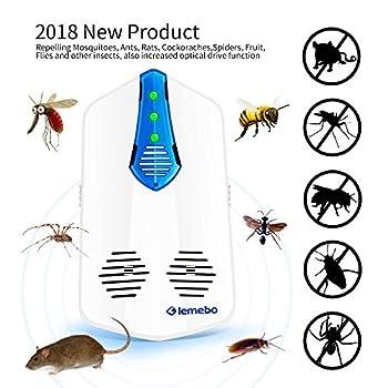 Lemebo Répulsif Ultrason Anti-Rongeurs Insectes, Électromagnétique Anti Nuisible Rongeurs Insectes Anti Souris Rats Repellent - Nouvelle Technologie 2018 à Fréquence Variable (Blanc)