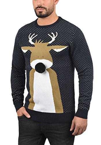 BLEND Herren Weihnachtspullover Christmas-Strickpullover Feinstrick mit Rundhals-Ausschnitt aus hochwertiger Materialqualität Dark Navy/ Deer 2 (74665)