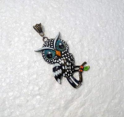 Pendentif Chouette Neige, en métal peint à la main