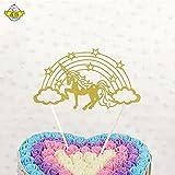 BESTOYARD 2pcs Cupcake Toppers Glitter Rainbow Star Unicornio decoraiton para el Aniversario (Dold)