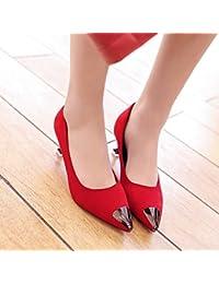 Xue Qiqi Punta de la high-Heel Shoes satin luz cabeza de hierro solo zapatos con zapatos finos, como la chica,...