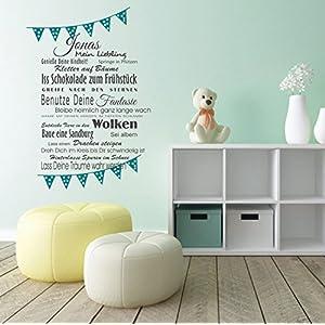 Wandaufkleber Wandtattoo Wimpel + Wunschname, mein Liebling, Wünsche fürs Kind Wandsticker Sticker Wanddeko Kinderzimmer Baby, Junge