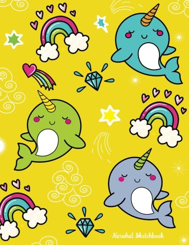 narwhal-sketchbook-for-kids-blank-drawing-coloring-doodling-writing-book-cute-yellow-narwhal-design-