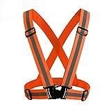 MMLC Reflektierende Sicherheitsweste für Läufer, Jogger, Spaziergänger, Radfahrer | Verstellbare Warnweste für erhöhte Sichtbarkeit & Sicherheit | passt sogar über Motorradjacken (Orange)