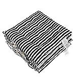 Homescapes Stuhlkissen 40x40 cm 4er Set schwarz weiß gestreift Stuhlauflage mit Bändern und Knopfverschluss Bezug 100% Baumwolle mit Polyester Füllung