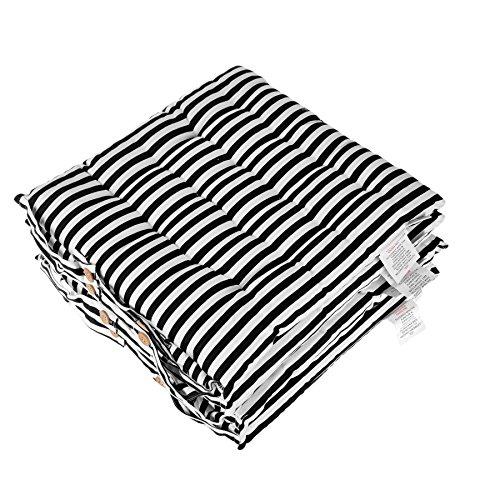 Homescapes Stuhlkissen 40x40 cm 4er Set schwarz weiß gestreift Stuhlauflage mit Bändern und Knopfverschluss Bezug 100% Baumwolle mit Polyester Füllung -