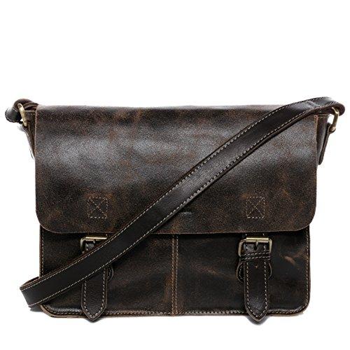 BACCINI® Borsa messenger vera pelle LEON borsello tracolla 13 pollici borsa a spalla Lavoro uomo donna cuoio marrone