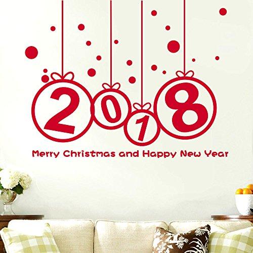 Yallylunn New Year 2018 Merry Christmas Wall Sticker Home Shop Windows Decals DéCor Ungiftig Geruchsfrei Selbstklebenden Deco Sticker Eeignet FüR Familie Sicher Nach Hause Raum