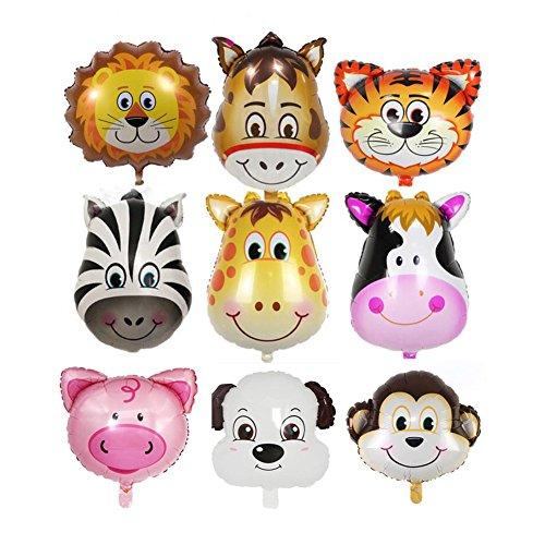 Ed-lumos palloncini ad elio decorazione per bambini forma animali cavallo tigre toro leone scimmia maiale asino cane zebra- palloncini in alluminio 9 pezzi dimensione multicolore di ogni 45x45cm