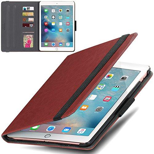 iPad Pro 9.7 Custodia, la copertura astuta BENTOBEN Slim Folio sintetico premio del cuoio caso del basamento con il supporto della credito slot per schede finestra ID di Apple matita elastica di chiusura per Apple iPad Pro 9,7 pollici, Marrone