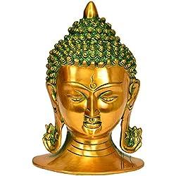 Exotic India - Escultura de Buda con Cabeza de calmante, Color Dorado Verde, 12 x 14 x 20 cm