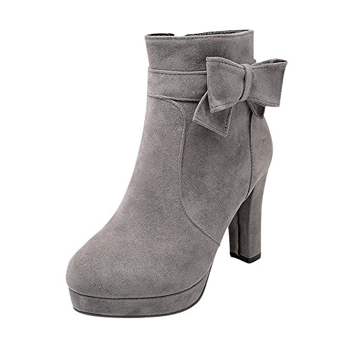 Mee Shoes Damen mit Schleife Plateau high heels Nubuklder Ankle Boots Grau