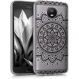 kwmobile Funda para Motorola Moto G5S - forro de TPU silicona cover protector para móvil - Case Diseño Girasol Azteca negro transparente