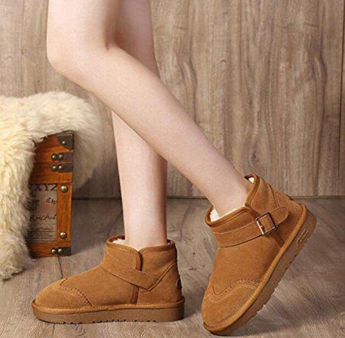 TT&XUEDIXUE Scarpe da donna in pelle / Stivali da neve invernali / Stivali moda Outdoor / Flat Heel Fur Black / Khaki / Coffee khaki