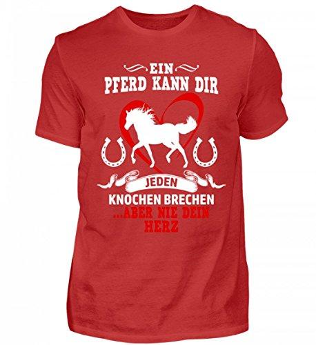 Shirtee Hochwertiges Herren Pferde Geschenkidee für Pferde/Reitsport Fans · Pferd Motiv/Spruch · Verschiedene Farben Rot