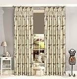 Vorhänge mit Ösen, Blumenmuster, Polyester 90x90 inches Lined ( vintage shabby chic ) Natural ( ivory cream taupe beige )