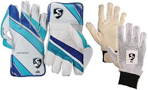SG Combo von Zwei, Ein Paar hillite Wicket Keeping Handschuhe und Ein Paar 'Test' Innen Handschuhe (Herren) Cricket Kit