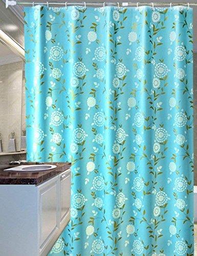 Erru Duschvorhang Blaue Blume Gold Dick Wasserdicht Zum Test Derildewproof und Warm Halten die Vorhänge Bad WC Partition (Wasserdicht Größe: 150 cm * 200 cm)