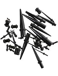 Generic Set 9 Paires Ecarteur d'Oreille Conique et 9 Paires Tunnel Piercing Plug Acryliques