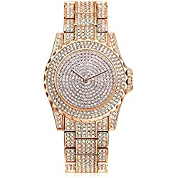 HARRYSTORE Crystal Watches Women Quartz Wristwatch Clock Ladies Dress Gift Watches Rose Gold