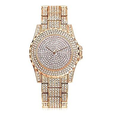 HARRYSTORE Crystal Watches Women Quartz Wristwatch Clock Ladies Dress Gift Watches Rose Gold