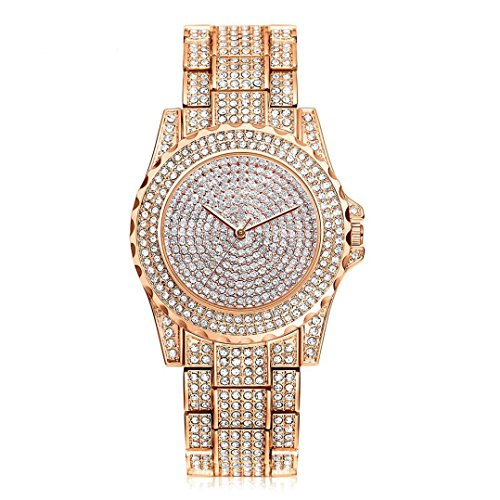 - 51lkLNnUZzL - HARRYSTORE Crystal Watches Women Quartz Wristwatch Clock Ladies Dress Gift Watches Rose Gold